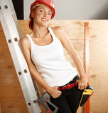 Female carpenter on duty Stock Photo