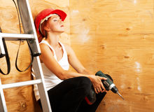 Female carpenter on duty Stock Images