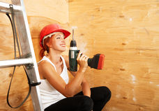 Female carpenter on duty Royalty Free Stock Photos