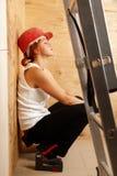 Female carpenter on duty Stock Images