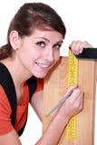 Female carpenter stock image