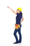 Female carpenter pointing Stock Images
