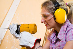 Female carpenter  at work Royalty Free Stock Photography