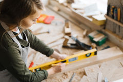 Female carpenter Stock Image