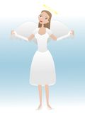 Female cartoon angel taking flight Stock Image