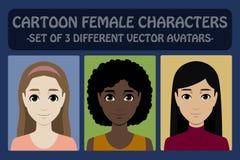 Female cartoon avatars Royalty Free Stock Photography