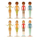 Female cartoon characters. stock illustration