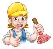 Female Cartoon Plumber Holding Plunger. A handyman plumber cartoon character holding a plunger and giving a thumbs up Stock Photos