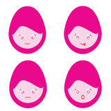Female Cartoon Smiley Faces Royalty Free Stock Image