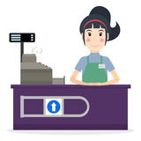 Female cashier at workplace Stock Photography