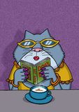 Female cat is reading a book about dogs stock photos