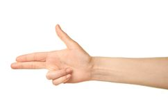 Female caucasian hand gesture isolated Stock Photo