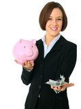 Female Caucasian Hold Money On Focus Stock Images