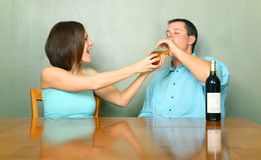 Female Caucasian Stopping Drunk Male Stock Photos