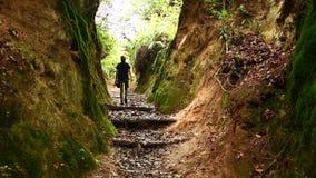 Female caucasian tourist trekking walking at himalayan mountains, Nepal stock footage