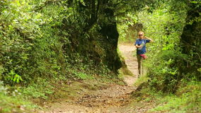 Female caucasian tourist trekking walking at himalayan mountains, Nepal stock video