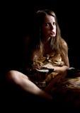 Female cave-dweller Stock Photo