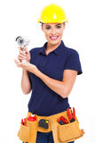 Female cctv installer Royalty Free Stock Image