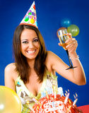 Female celebrating birthday Stock Images