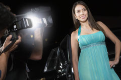 Female Celebrity Being Photographed Stock Photo
