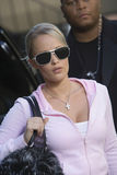 Female Celebrity And Bodyguard stock images