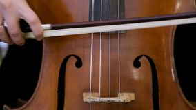 Female cello player playing violoncello. Close up of woman hand playing cello. stock video