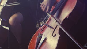 Female cello player playing violoncello. Woman hand playing cello stock video