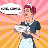 Female Chambermaid with Clean Towels. Hotel Service. Pop Art illustration. Female Chambermaid with Clean Towels. Hotel Service. Pop Art vector illustration Royalty Free Stock Image