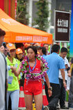 And female champion athlete handshakes. Female champion athlete handshake with the host.Half international marathon in fushui county in yunnan province in China Royalty Free Stock Photo