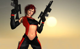 Female character holding guns Royalty Free Stock Photo