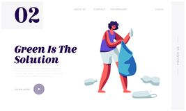 Female Character Picking Up Plastic Trash and Litter into Bag. Stop Pollution Concept, Ecology Protection, Recycling Solution stock illustration