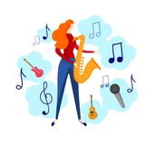 Female Character Playing Jazz, Blues Music by Sax. Female Character Playing Jazz or Blues Music by Saxophone Isolated on White Background. Musical Icons Around stock illustration