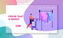 Female Character Pushing Trolley with Clean Clothing in Professional Public or Hotel Laundry. Cleaning, Service, Laundrette. Website Landing Page, Web Page vector illustration
