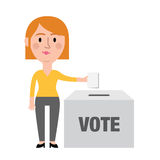 Female Character Putting Vote In Ballot Box Stock Photos
