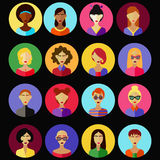 Female characters flat vector set. Avatars, profile pictures illustration Stock Photo