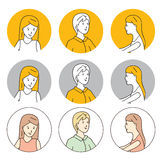 Female characters. Icons. Female characters. Round flat icons Royalty Free Stock Image