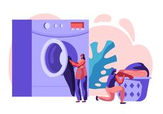 Female Characters in Public Laundry Laying Clean Clothes to Basket, Loading Dirty Clothing to Laundromat Machine Launderette. Female Characters in Public Laundry vector illustration
