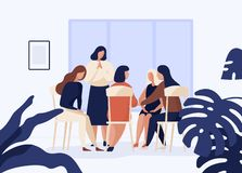 Female characters sitting on chairs in circle and talking to each other. Group therapy, psychotherapeutic meeting or Vector Illustration