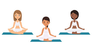 Female characters sitting in lotus yoga pose. Vector. Royalty Free Stock Photo