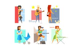 Female charactes set, people hobbies, professions and lifestyles, girl, lady glamour, mommy, traveller, housewife. Musician vector Illustration isolated on a royalty free illustration