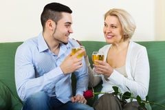 Female chatting with young boyfriend Stock Photos