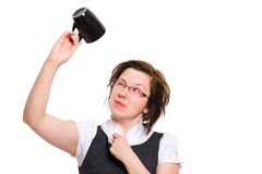Female checking coffee cup, mug, isolated on white Royalty Free Stock Image