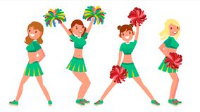 Female Cheerleader Vector. Different Poses. Dancing Sheerleading Woman Team. Gymnast Team In Uniform. On White royalty free illustration