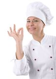 Female chef. Portrait of a female chef isolated over white royalty free stock photo