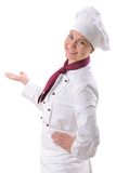 Female chef. Portrait of a female chef isolated over white royalty free stock image