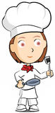 Female chef. Cute illustration of restaurant chef Stock Photography