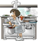Female Chef. This illustration that I created depicts a female chef in a kitchen Royalty Free Stock Photo