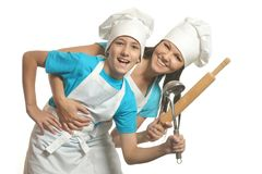 Female chef with assistant Royalty Free Stock Image