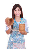 Female chef with bamboo rice box Stock Photos