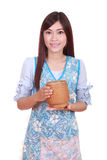 Female chef with bamboo rice box Royalty Free Stock Photo